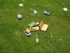 Trashed Bird box and drinks debris